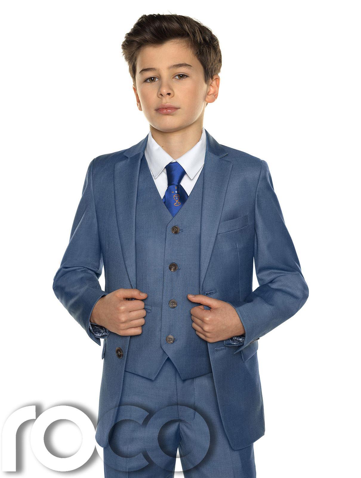 Jungen Chambray-anzug, Heilige Kommunion Anzug, Chambray