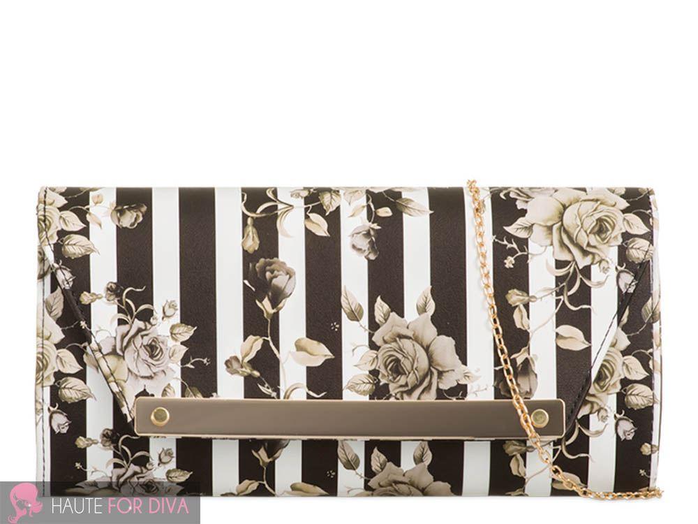 NEU Streifen Blumenaufdruck Kunstleder Metall Trimm Kette Handtasche Clutch