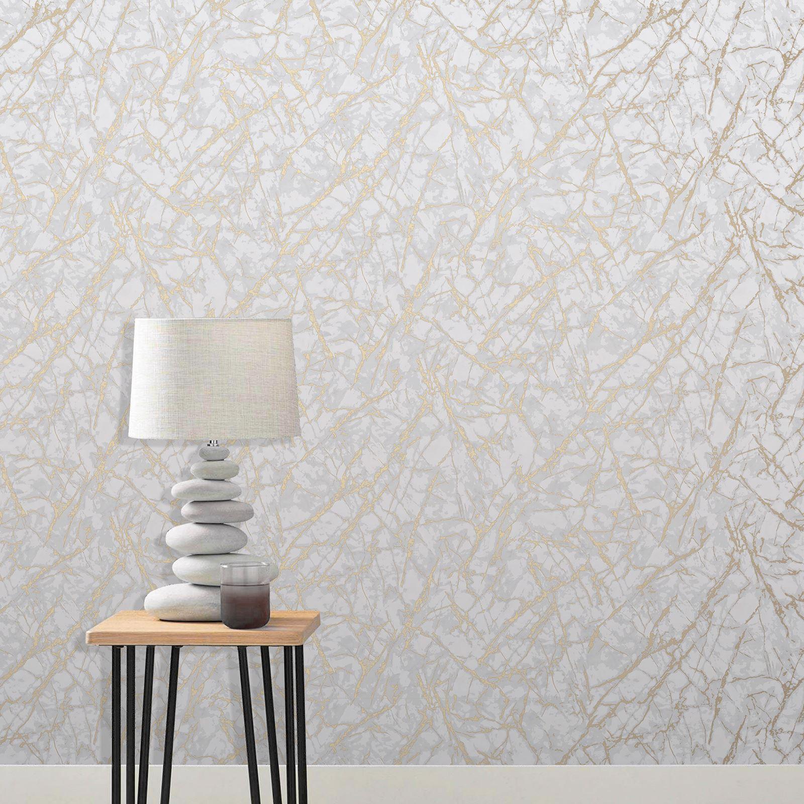 fine decor metallisch marmor tapete glatte oberfläche - rotgold