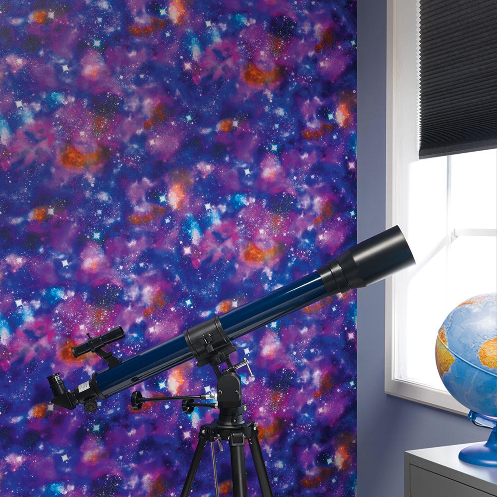 cosmic raum tapete kinder schlafzimmer fluoreszierend. Black Bedroom Furniture Sets. Home Design Ideas