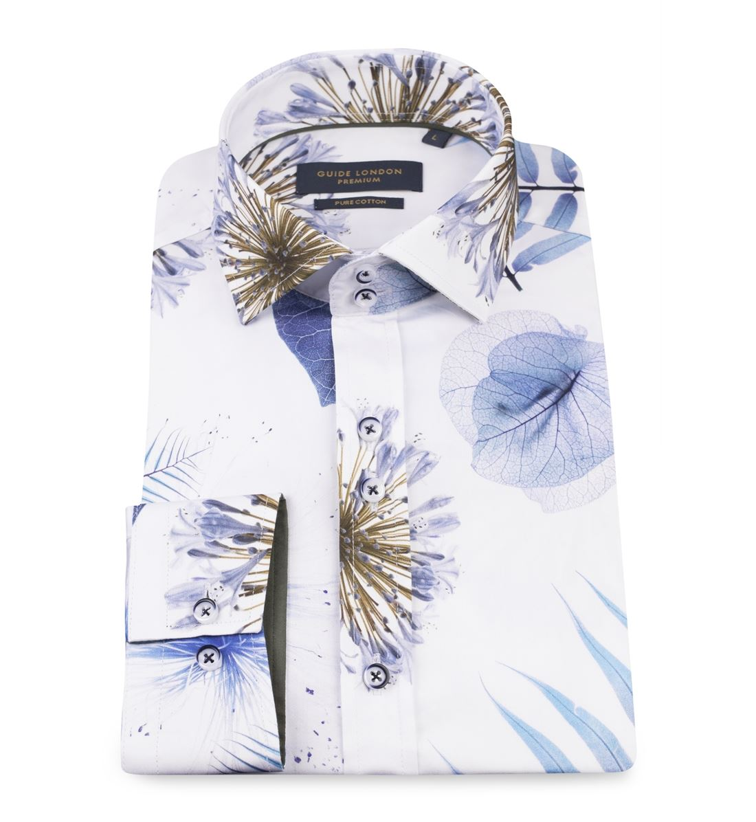 Gros London Blanc Ls74562 Cintrée Imprimé Guide Homme Coupe Chemise Floral P7qx4Zvaw