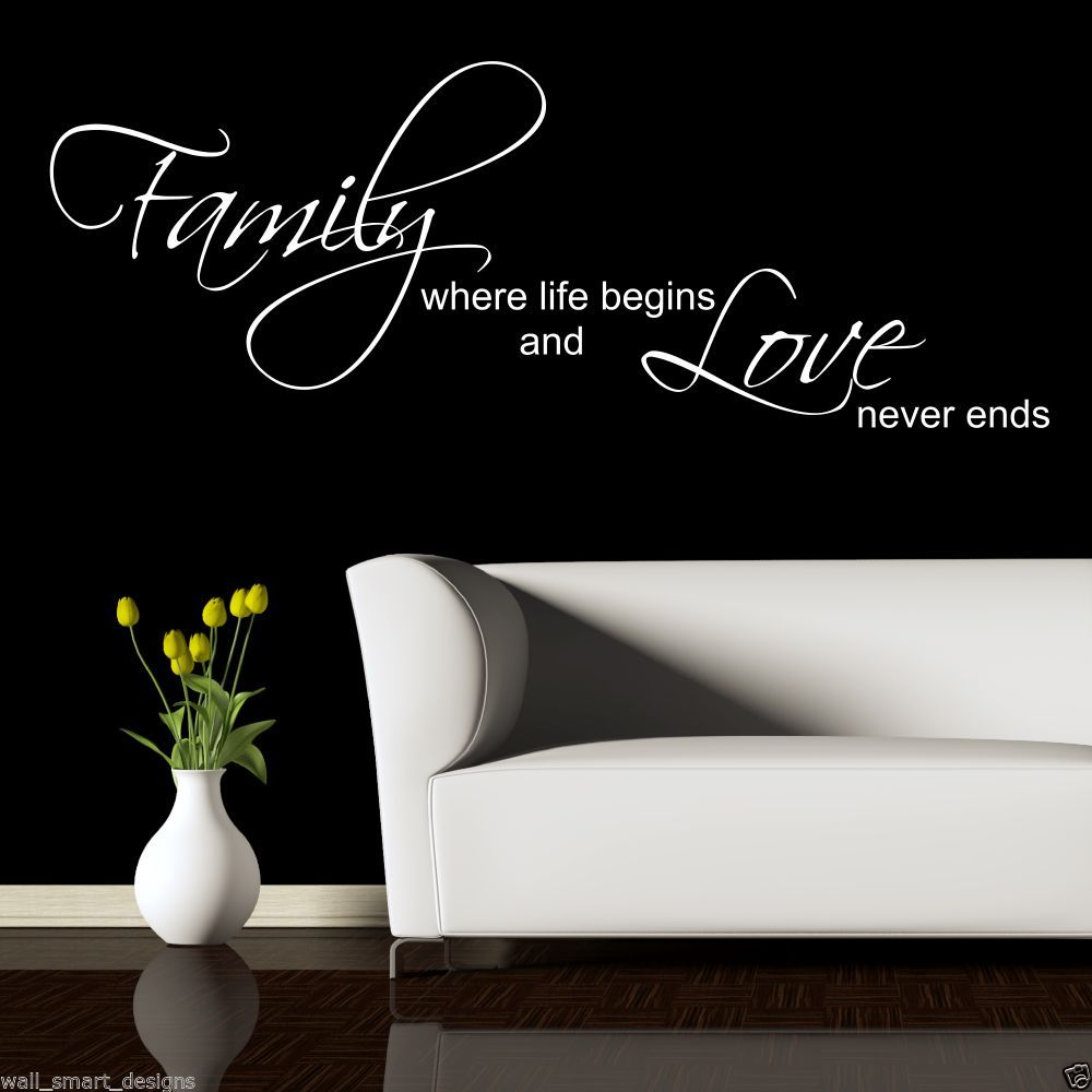Family love wall decor : Family love life begin wall art sticker quote decal mural
