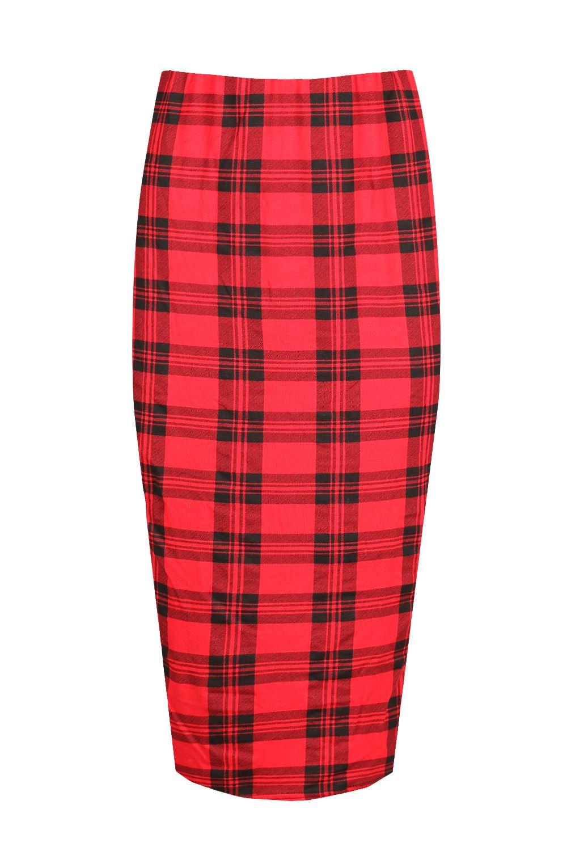 Damen tartan rotes kleid dehnbar damen sexy bleistift midi l nge rock trikot ebay - Rotes kleid amazon ...