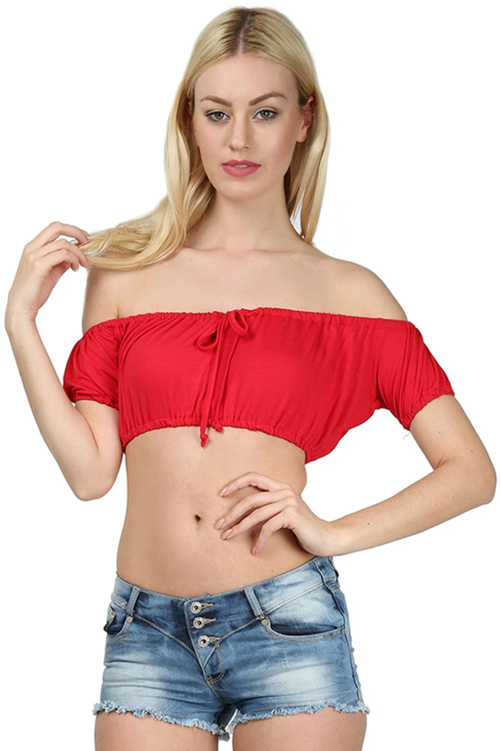 666a84e7e4f61 Womens Bardot Off Shoulder Bandeau Ladies Ruched Cap Sleeve Knot Front Crop  Top