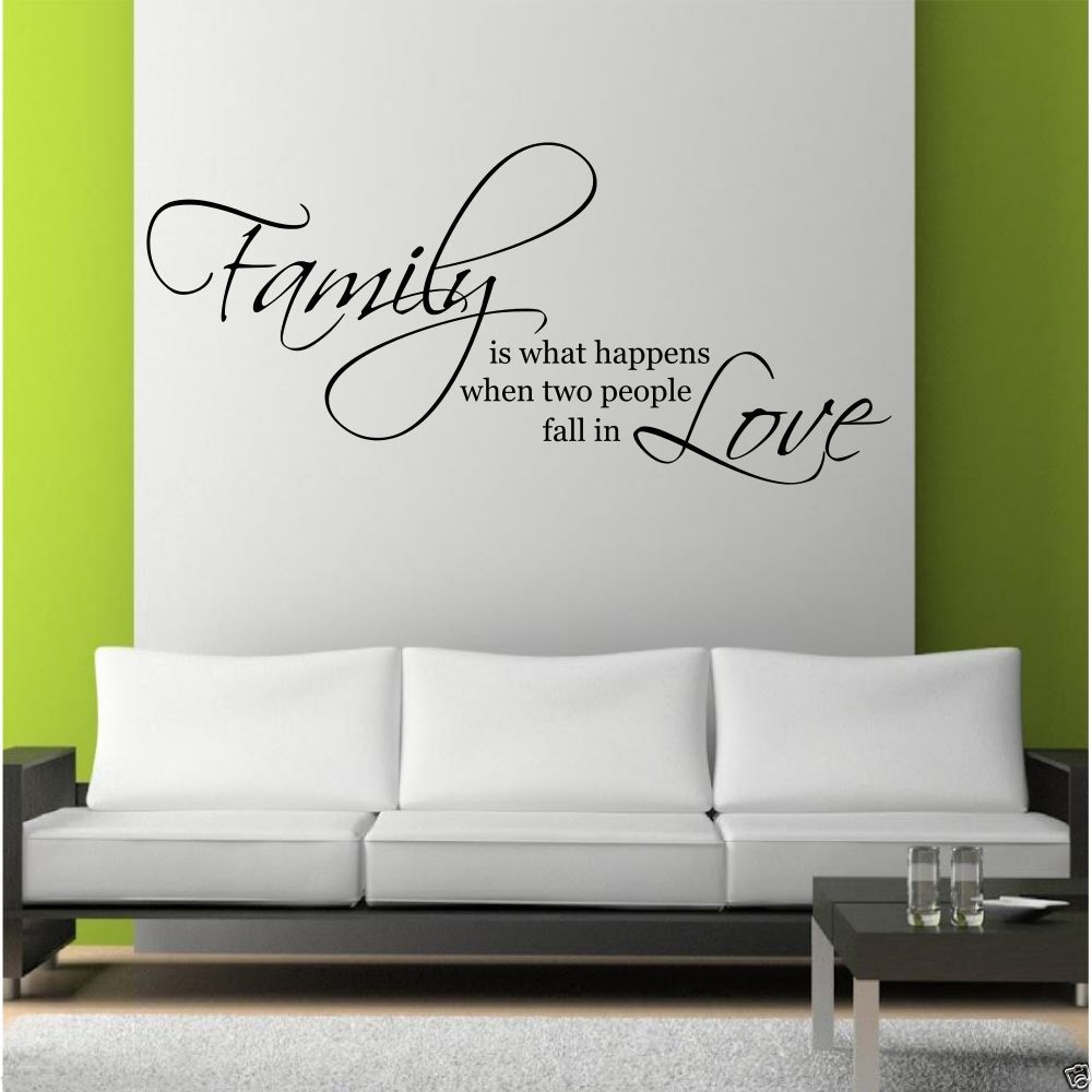 Family love wall art sticker quote living room decal mural for Living room decor quotes