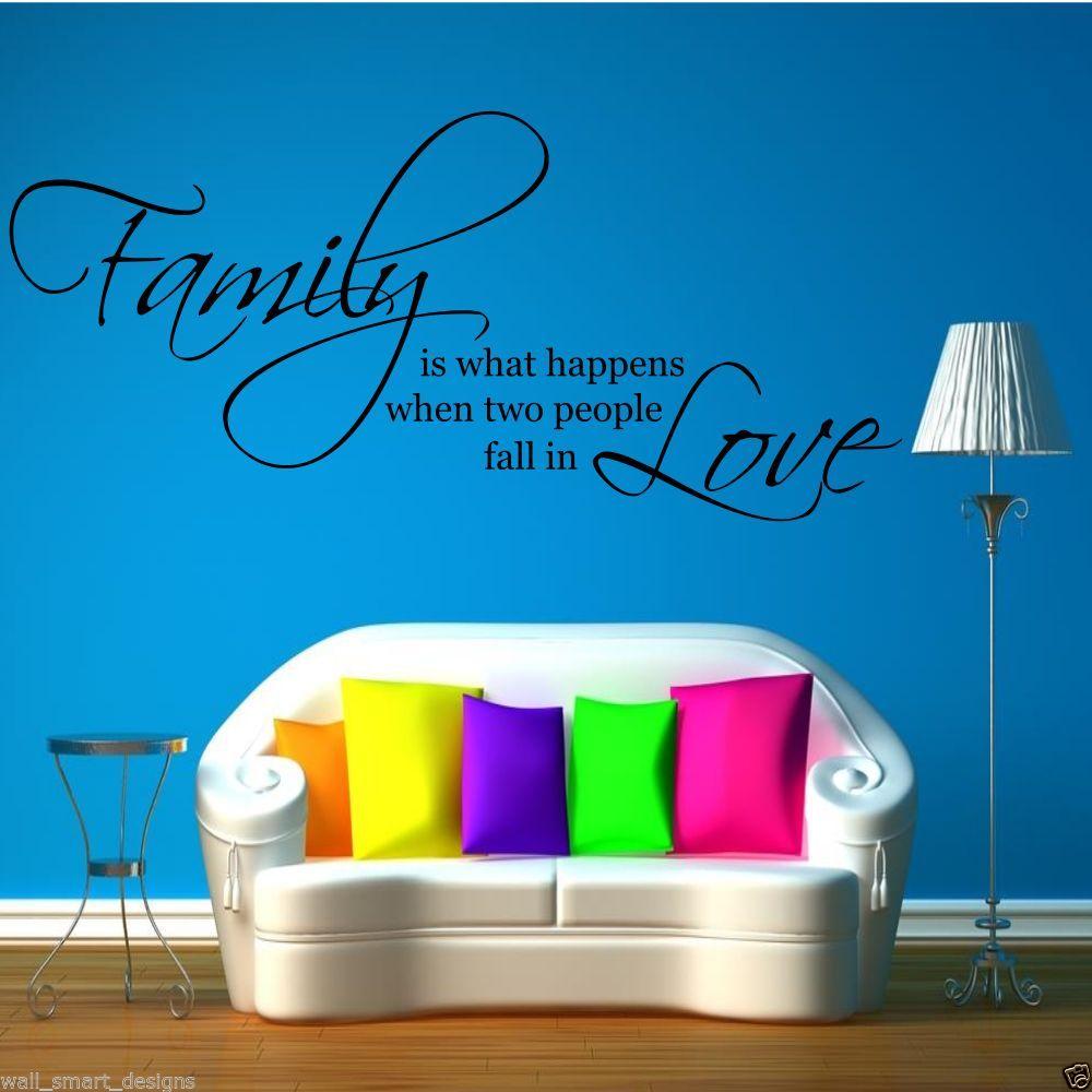 Familia love pegatina para pared papel pintado frase sal n - Papel pintado adhesivo pared ...