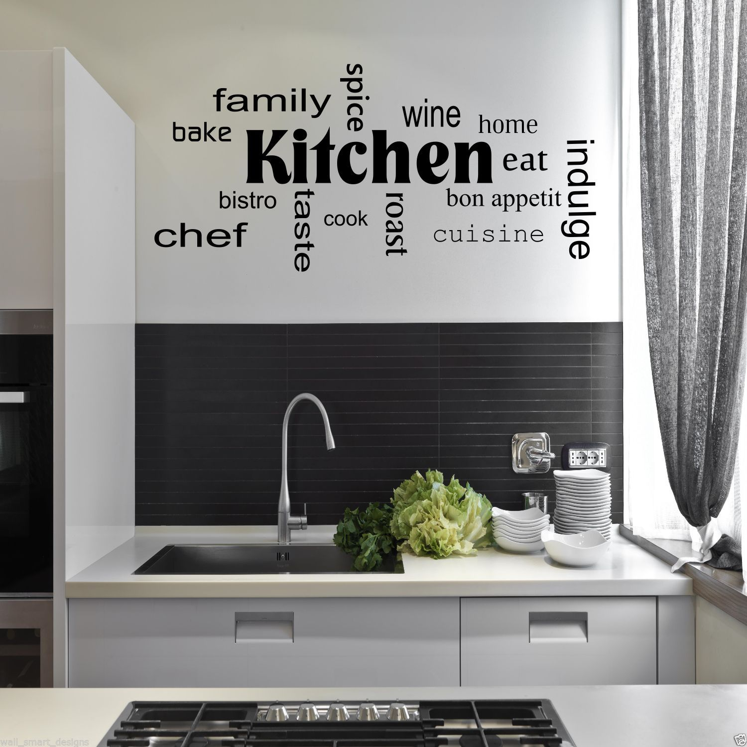 cuisine mots phrases sticker mural art citation sticker mural pochoir d cor ebay. Black Bedroom Furniture Sets. Home Design Ideas