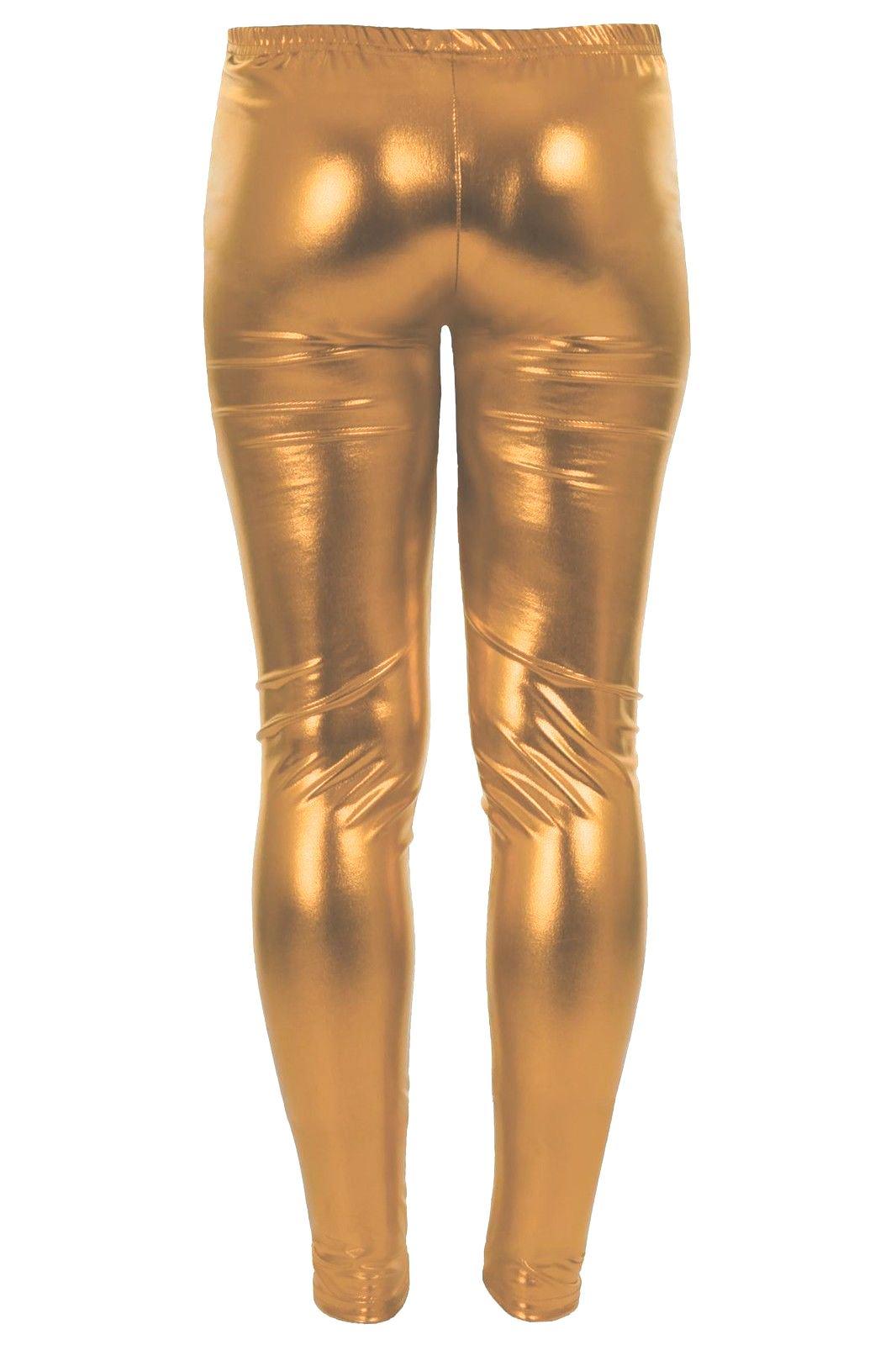 Nuevo-Infantil-Metalica-Aspecto-Charol-Ajustado-Fiesta-Disco-Pantalones-Leggings