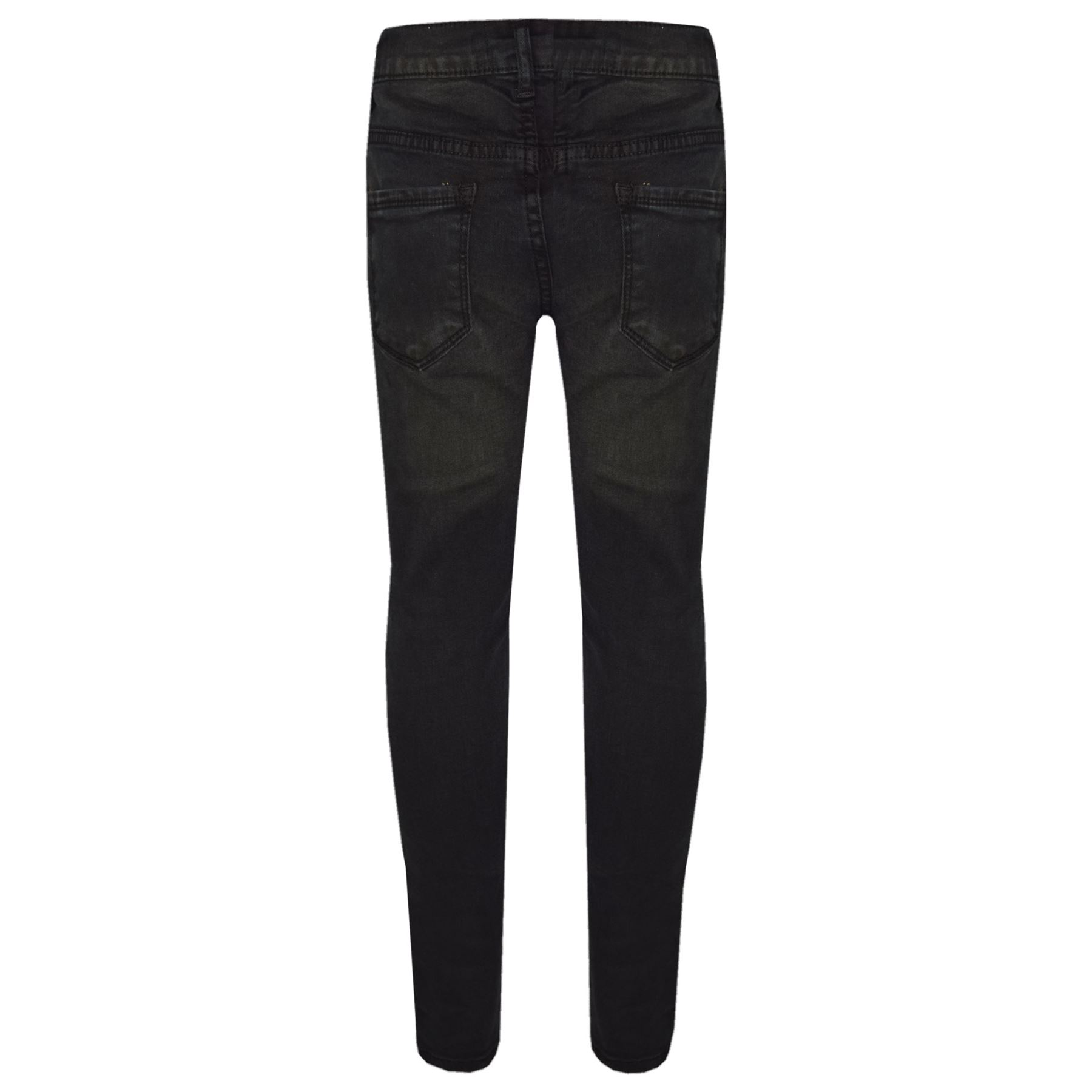 793095696a0 Girls Stretchy Jeans Kids Black Denim Ripped Pants Frayed Trousers ...
