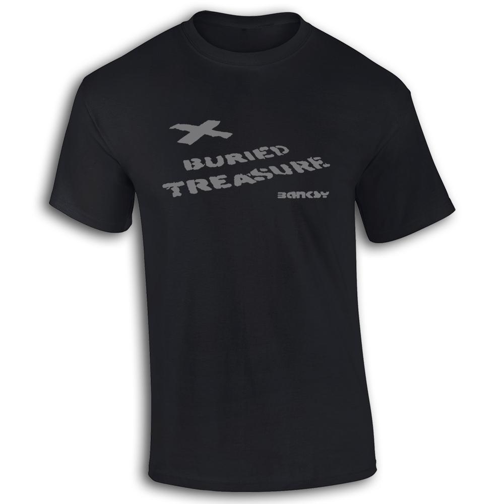 Bansky-Buried-Tesoro-Oomo-Cotone-maglietta-T-Shirt-Graffiti-X-Marks-The-Spot