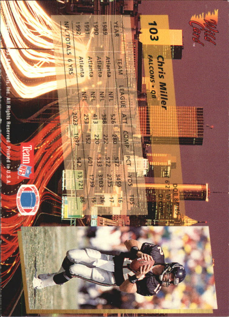 1993-Wild-Card-Superchrome-Football-Card-Pick-103-260 thumbnail 3