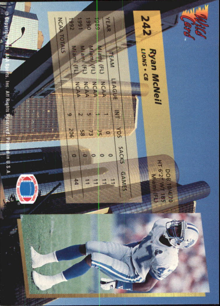 1993-Wild-Card-Superchrome-Football-Card-Pick-103-260 thumbnail 263