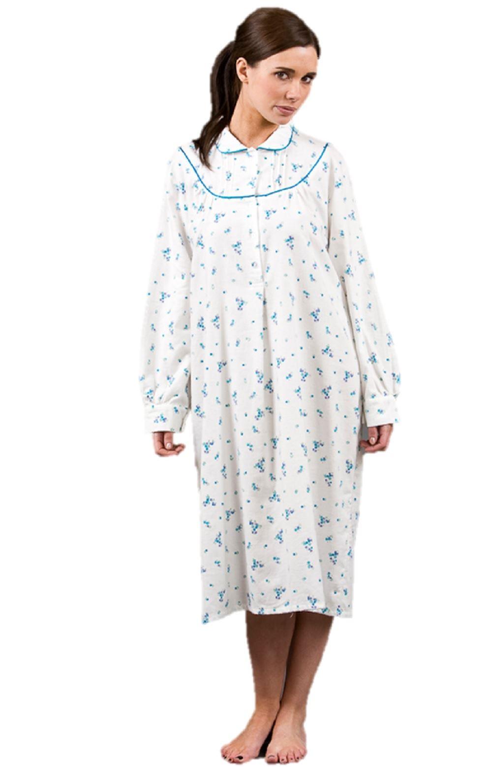 Mujer-Winceyette-100-Algodon-Peinado-Floreado-Camison-Camison-Pijama