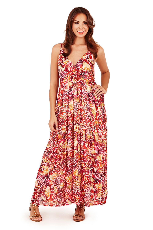 thumbnail 7 - Pistachio Womens Designer Spotted Aztec Beach Dress Ladies Strappy Summer Maxi