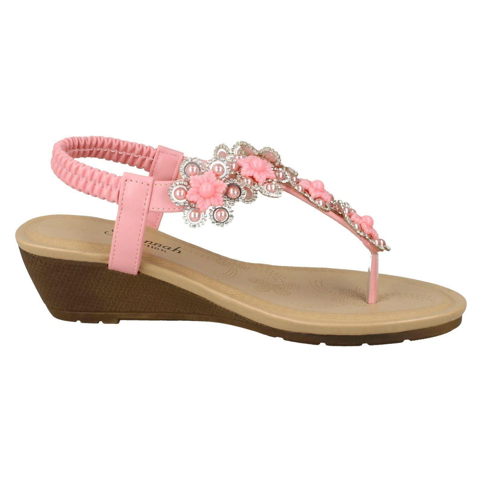 Ladies Savannah Mid Wedge Toepost Sandals With Flower Detail