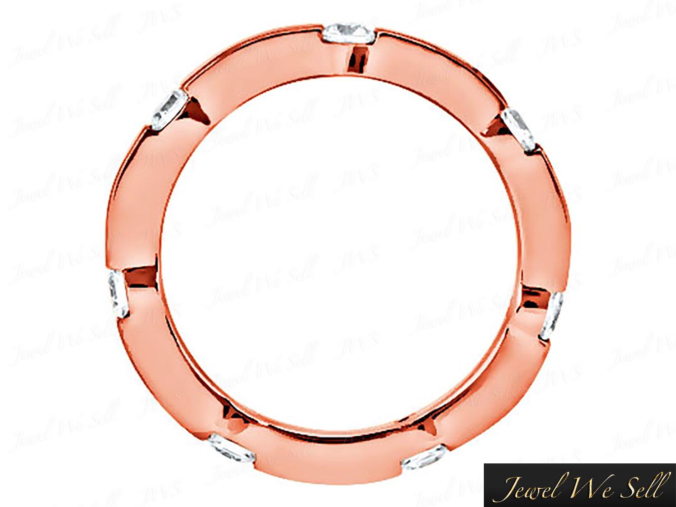 Natural-50-Quilates-Diamante-Brillante-Redondo-Anillo-Eternidad-Alianza-14K-Oro miniatura 4