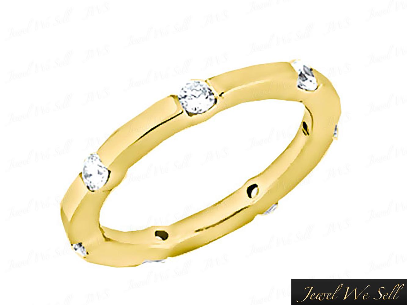 Natural-50-Quilates-Diamante-Brillante-Redondo-Anillo-Eternidad-Alianza-14K-Oro miniatura 8