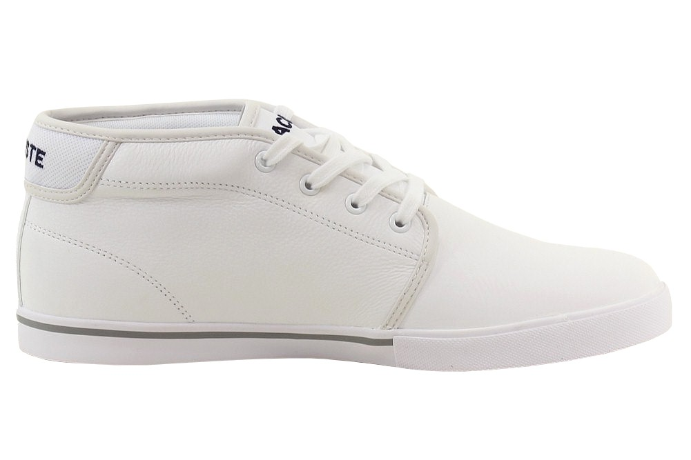 84f50f38ec12c9 Lacoste Men s Ampthill LCR3 White Leather Chukka Sneakers Shoes