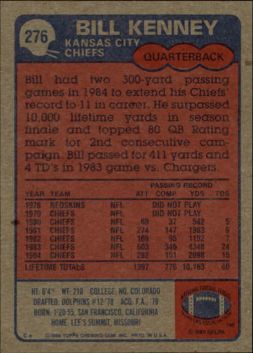 1985-Topps-Futbol-Tarjeta-Recoger-274-396 miniatura 7
