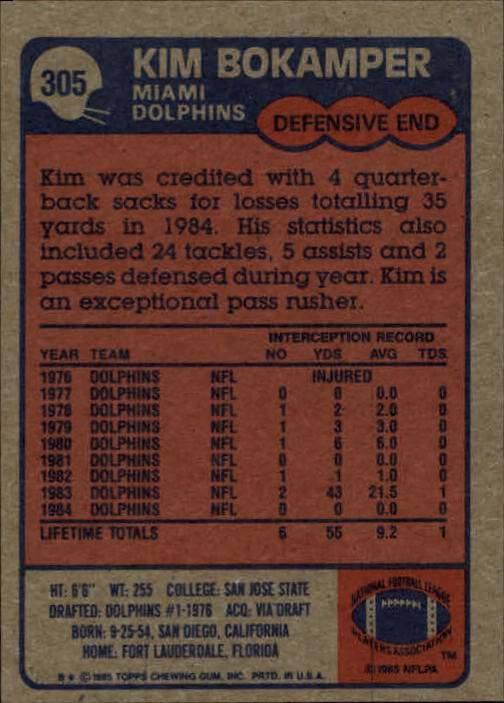 1985-Topps-Futbol-Tarjeta-Recoger-274-396 miniatura 55