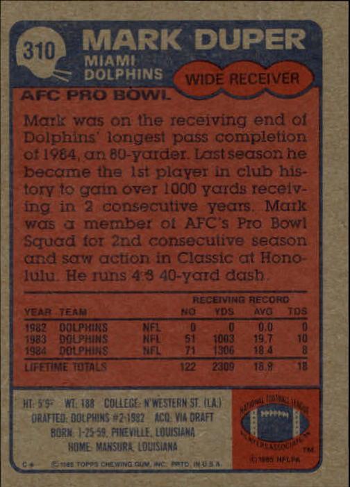 1985-Topps-Futbol-Tarjeta-Recoger-274-396 miniatura 63