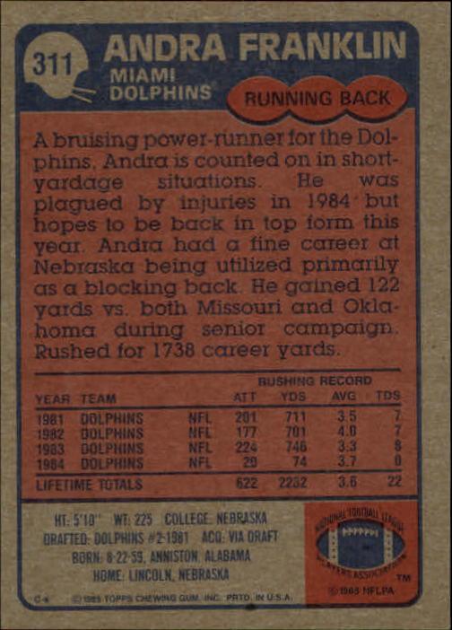 1985-Topps-Football-Card-Pick-274-396 thumbnail 65