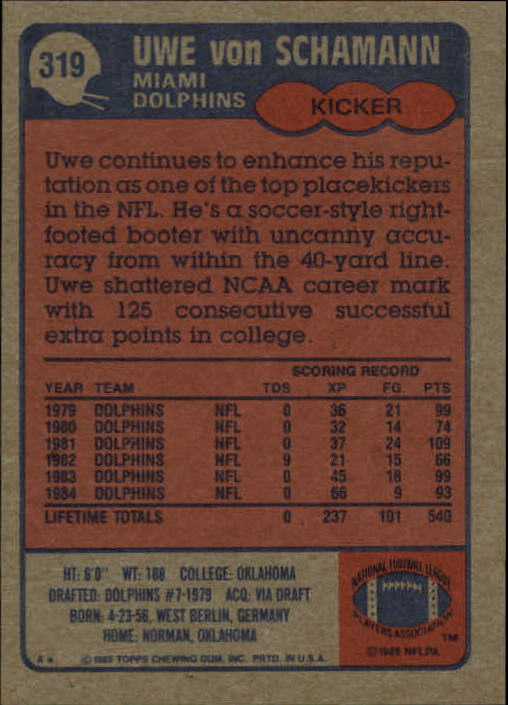 1985-Topps-Futbol-Tarjeta-Recoger-274-396 miniatura 75