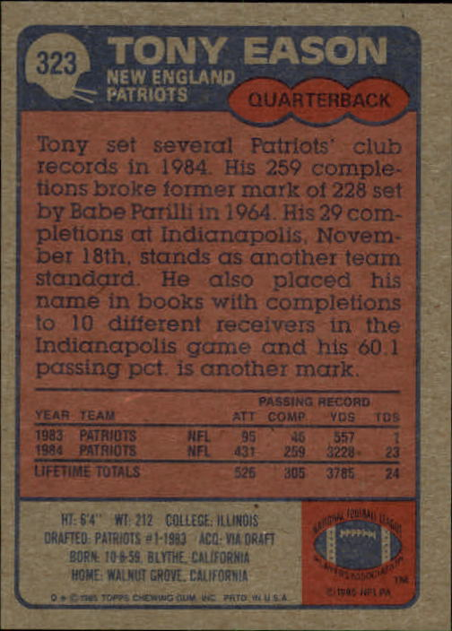 1985-Topps-Futbol-Tarjeta-Recoger-274-396 miniatura 83