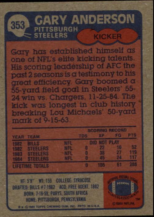 1985-Topps-Futbol-Tarjeta-Recoger-274-396 miniatura 127