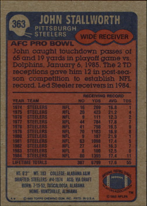 1985-Topps-Futbol-Tarjeta-Recoger-274-396 miniatura 139