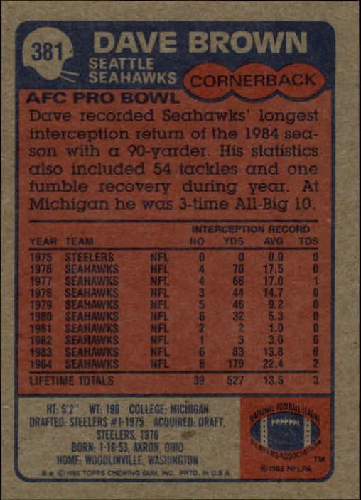 1985-Topps-Futbol-Tarjeta-Recoger-274-396 miniatura 173