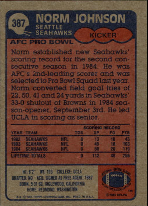 1985-Topps-Football-Card-Pick-274-396 thumbnail 186