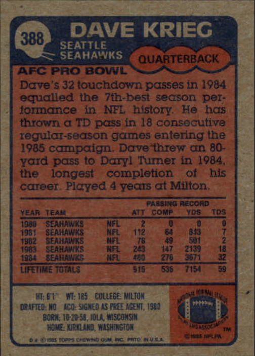 1985-Topps-Futbol-Tarjeta-Recoger-274-396 miniatura 187