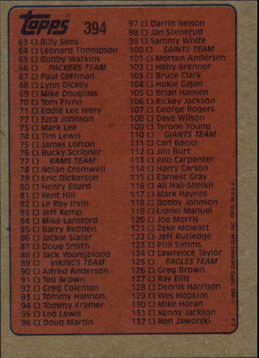 1985-Topps-Futbol-Tarjeta-Recoger-274-396 miniatura 199