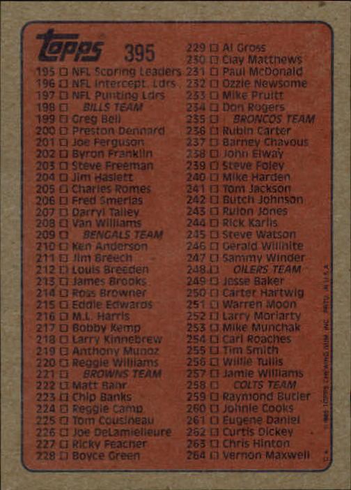 1985-Topps-Futbol-Tarjeta-Recoger-274-396 miniatura 201