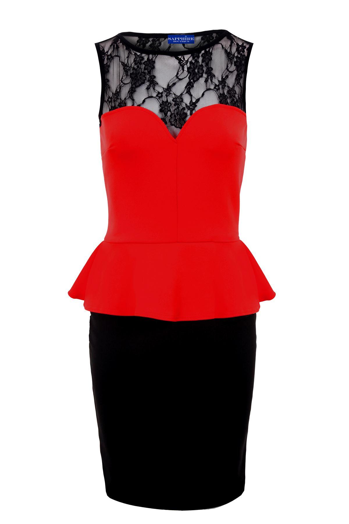 Mujer-Corazon-Encaje-Negro-Mujer-NUEVO-Peplo-Vestido-corto-8-20