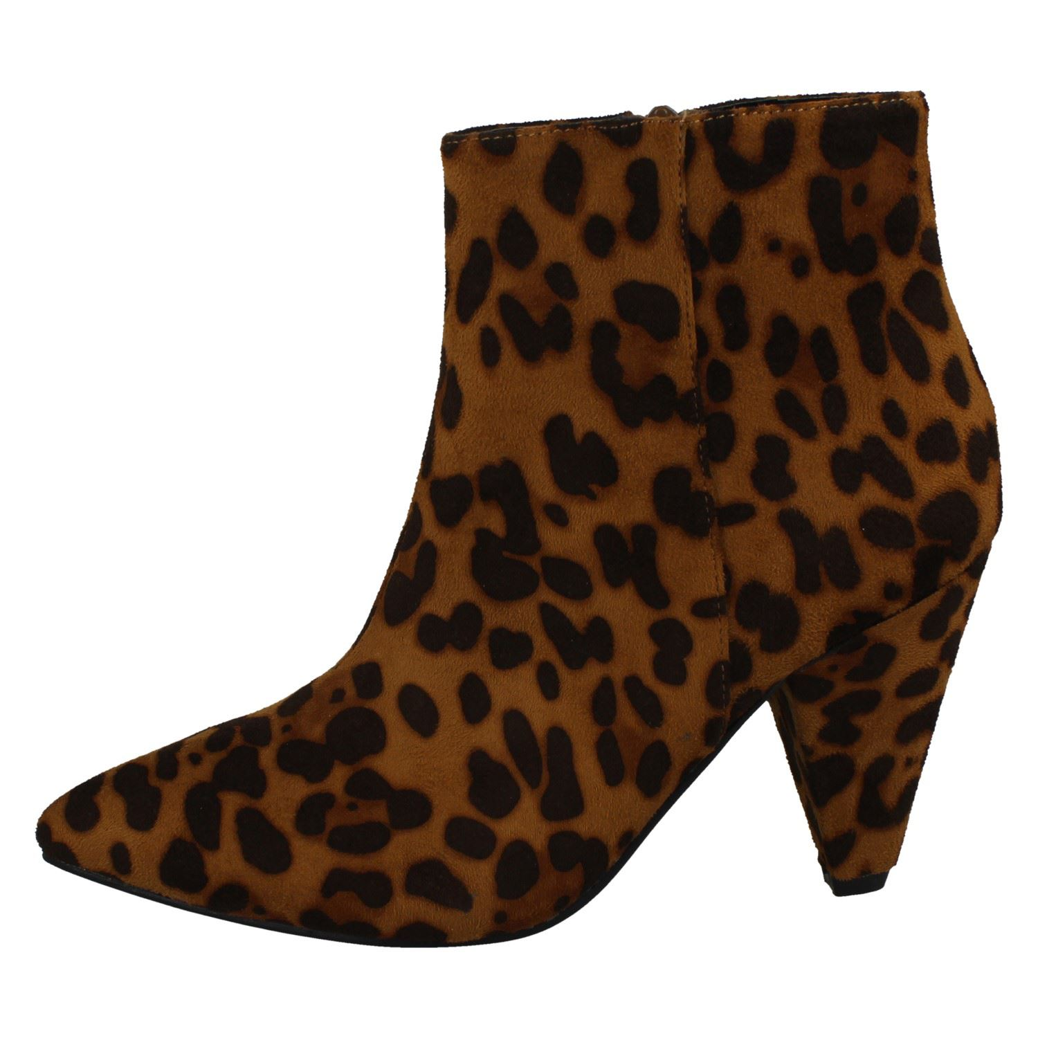 Ladies Spot On Zip Up Khaki Leopard Print Ankle Boot F5R0962