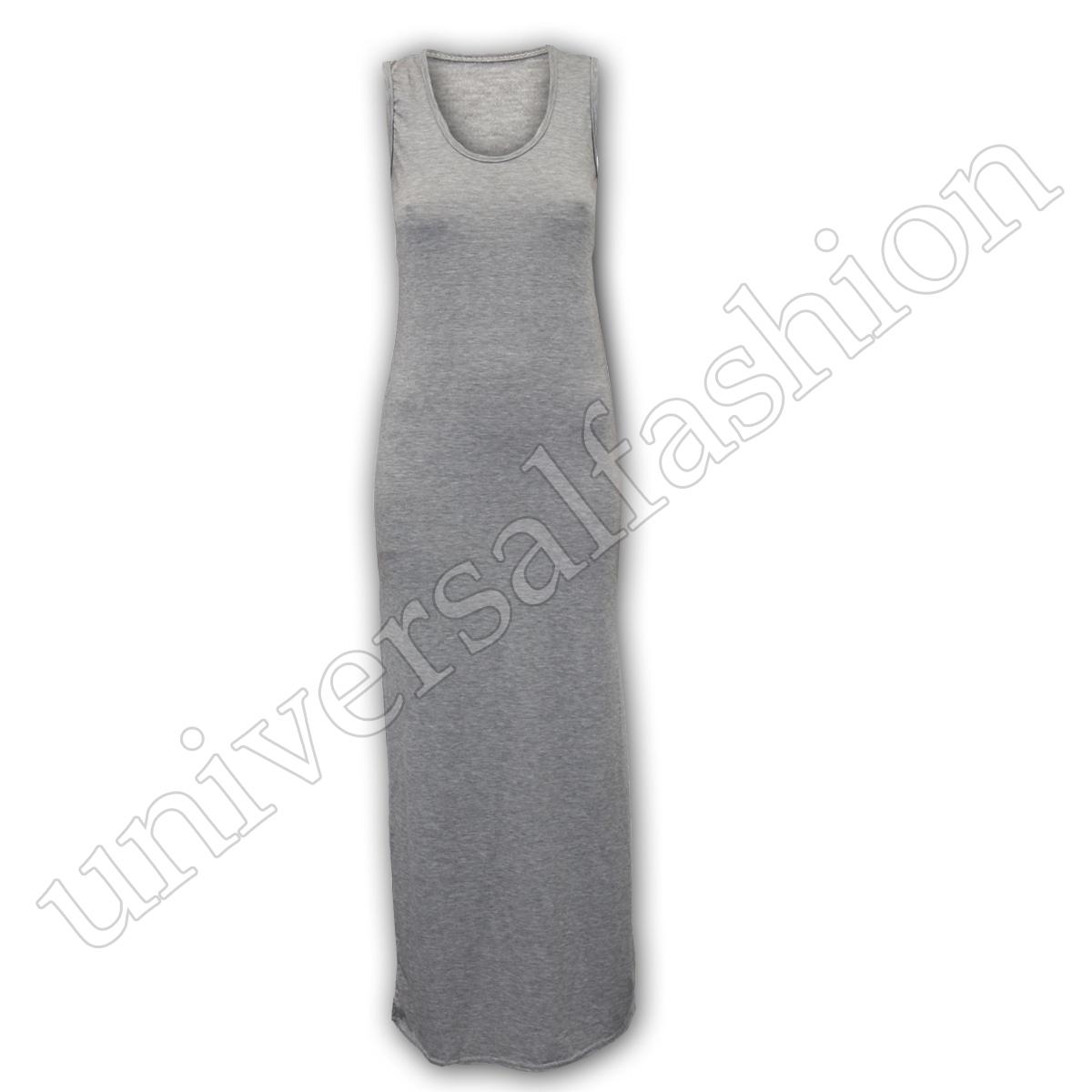 Ladies Maxi Dress Women Sleeveless Jersey Plain Midi Stretch Long