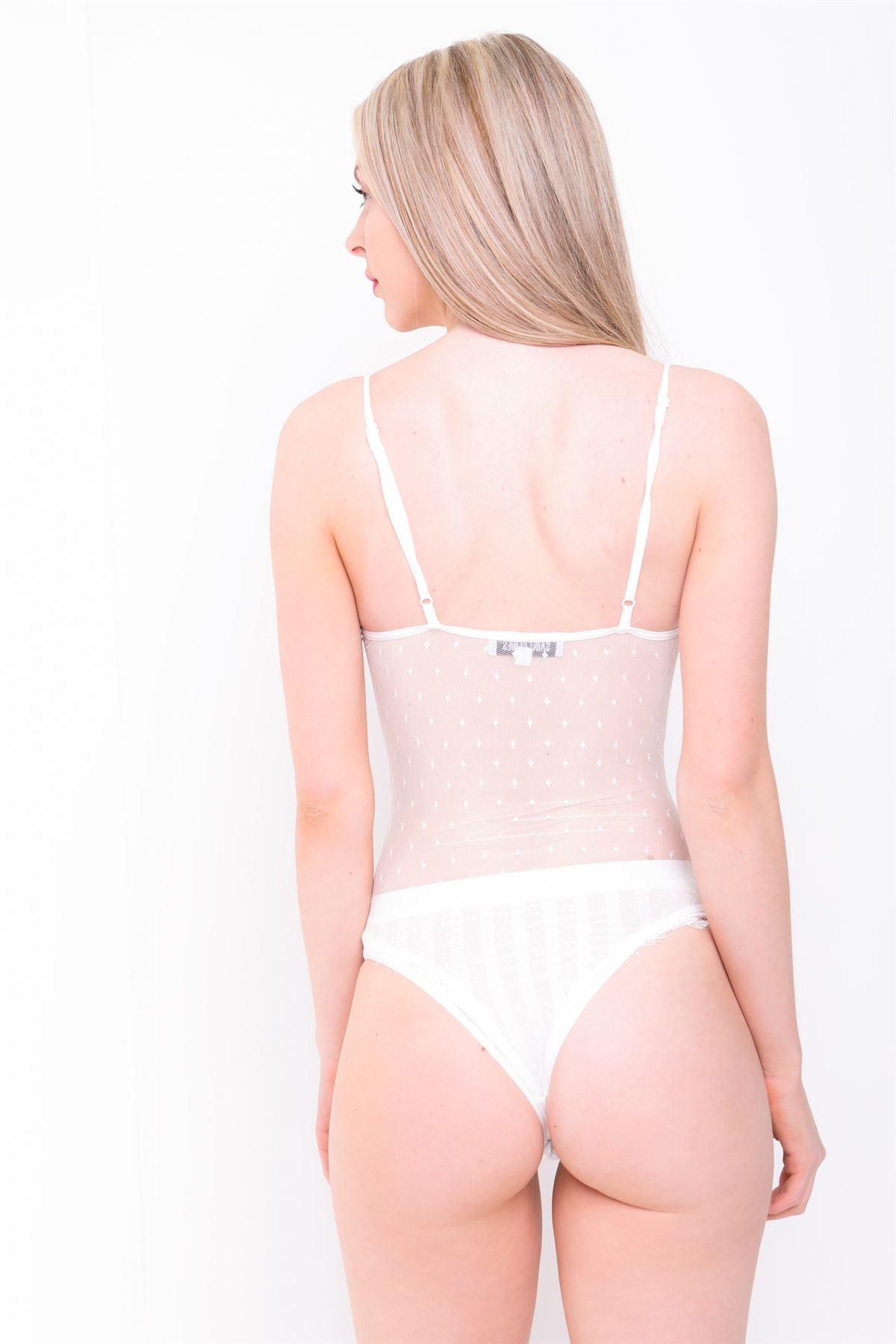 dentelle-femmes-Body-noir-a-pois-moulant-maille-Justaucorps-lingerie-transparent