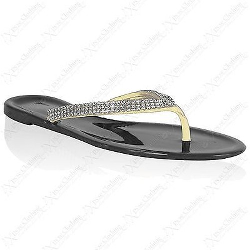 damen glitzersteine gummi sandalen damen flip flops zehen. Black Bedroom Furniture Sets. Home Design Ideas