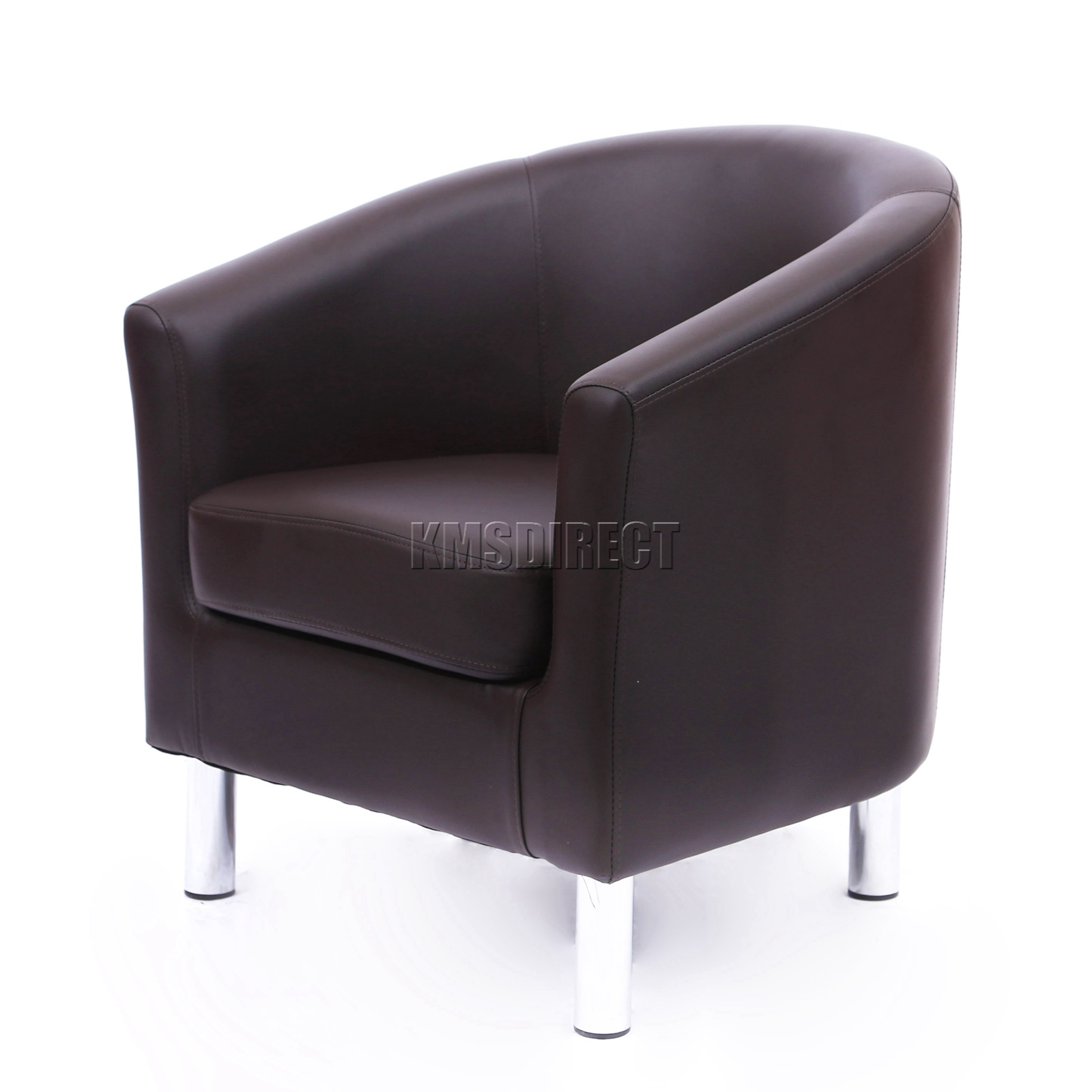 westwood modern tub chair armchair pu faux leather with chrome leg