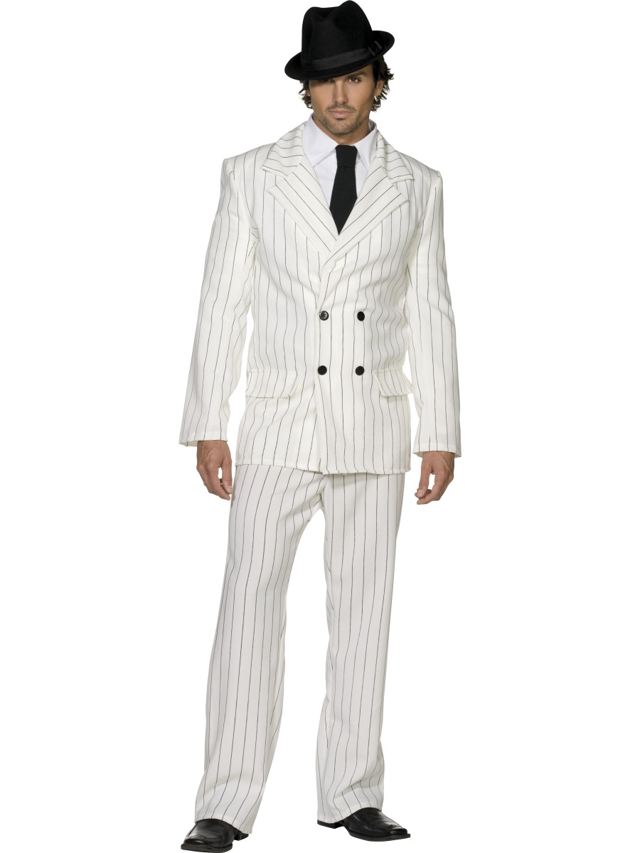 Image is loading American-Gangster-Costume-White-Al-Capone-Mens-Fancy-  sc 1 st  eBay & American Gangster Costume White Al Capone Mens Fancy Dress Outfit | eBay