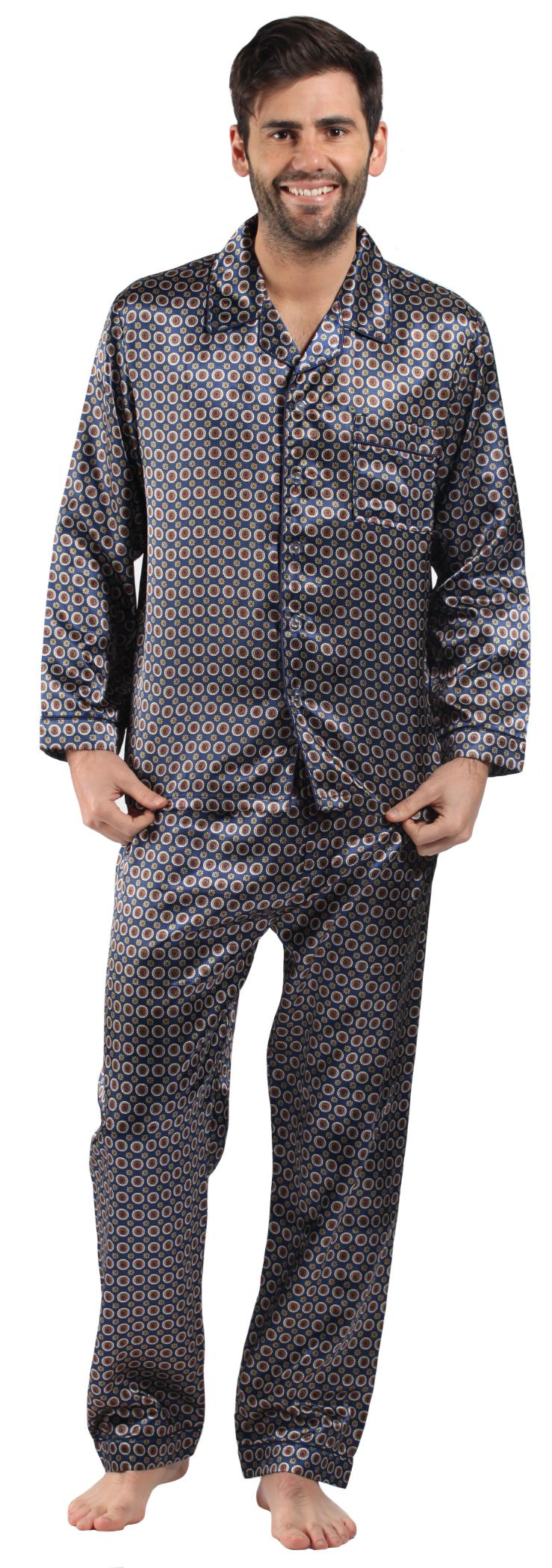 Harvey-James-Hombre-Saten-Clasico-Abotonado-Estampado-Pijama-Pijama-Pijama