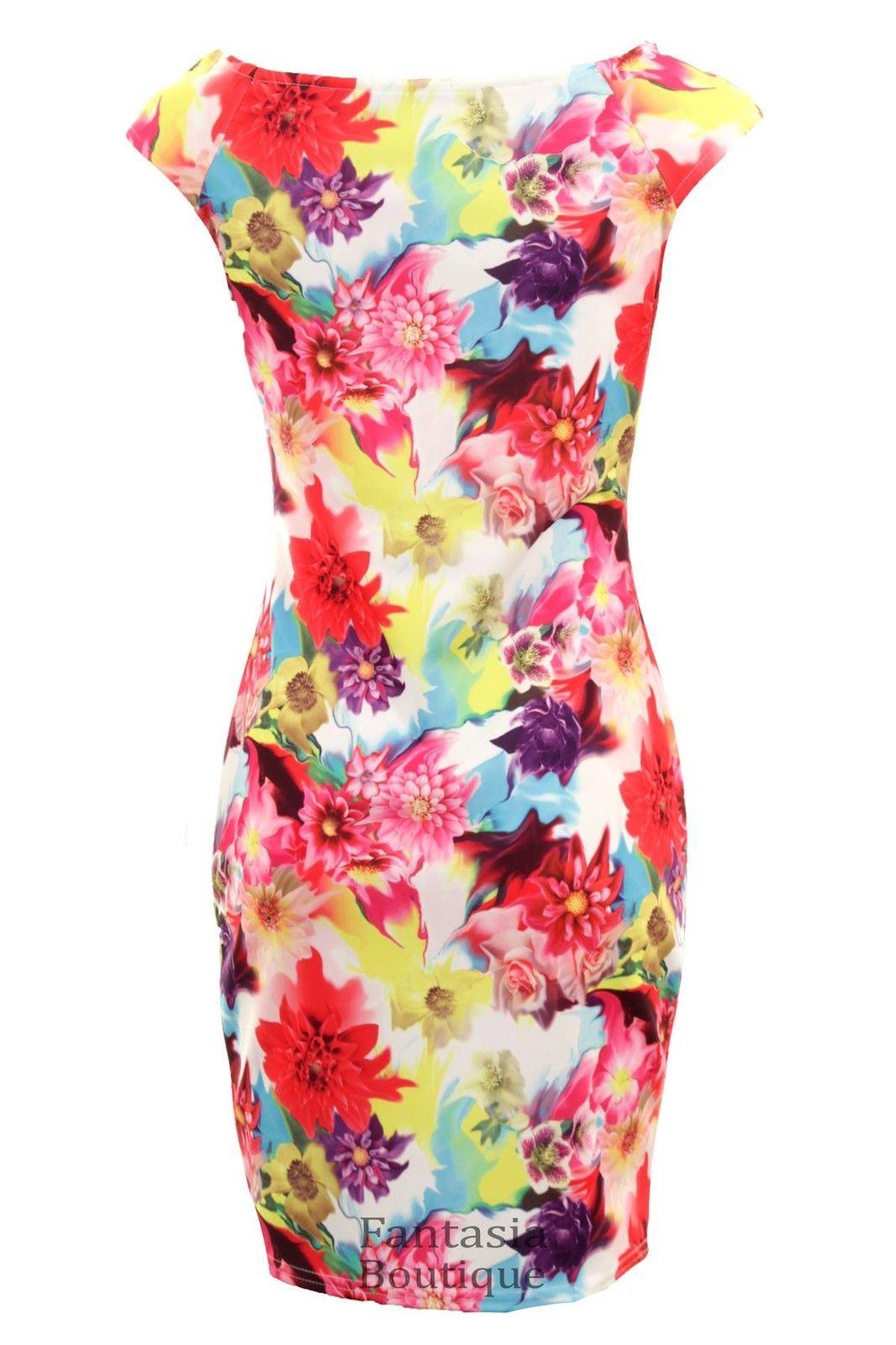 femmes-sans-manches-Multicolore-Floral-moulant-extensible-imprime-robe-courte
