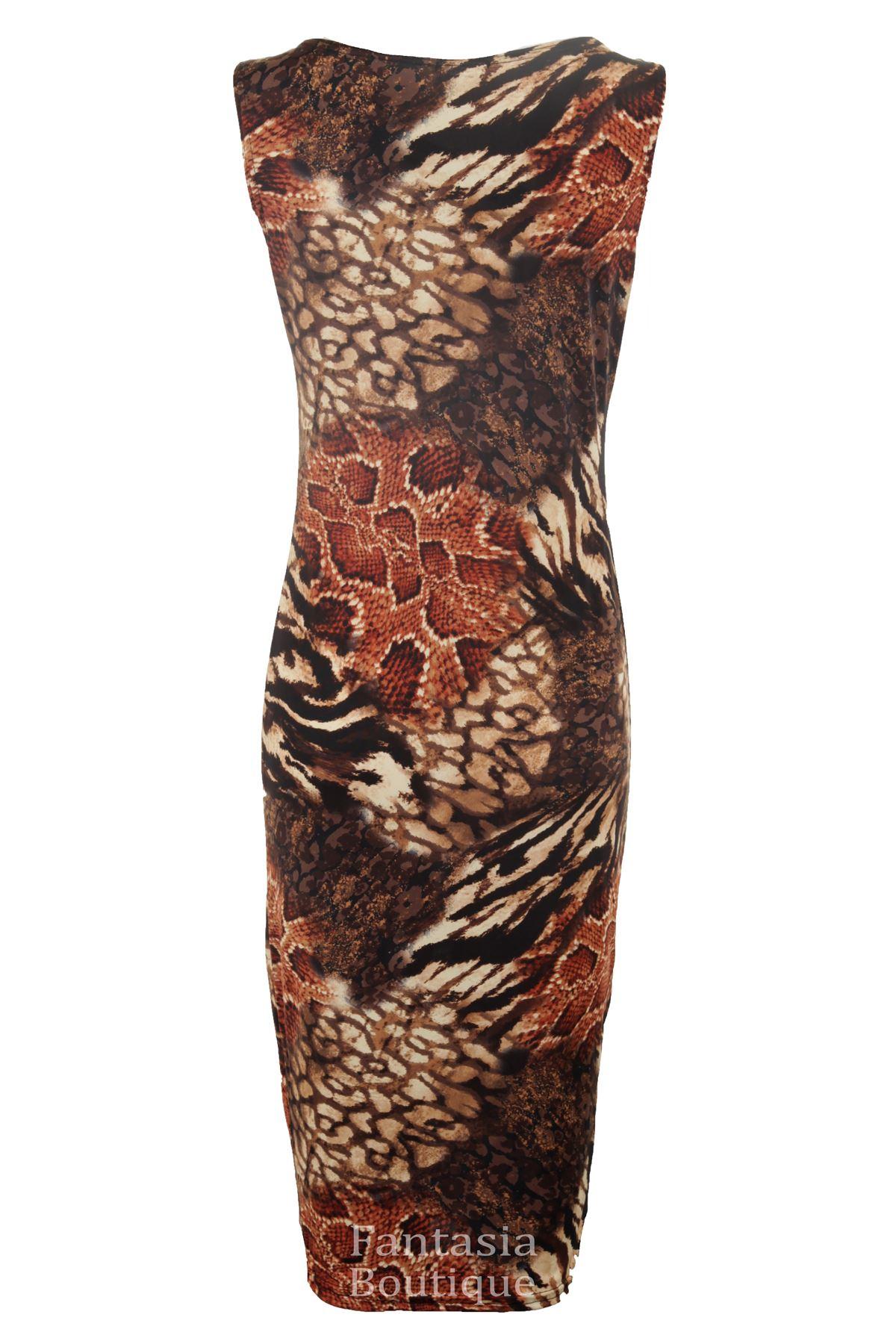 Womens Multi Leopard Snake Animal Longsleeve Ladies Bodycon Midi Dress Plus 8-22