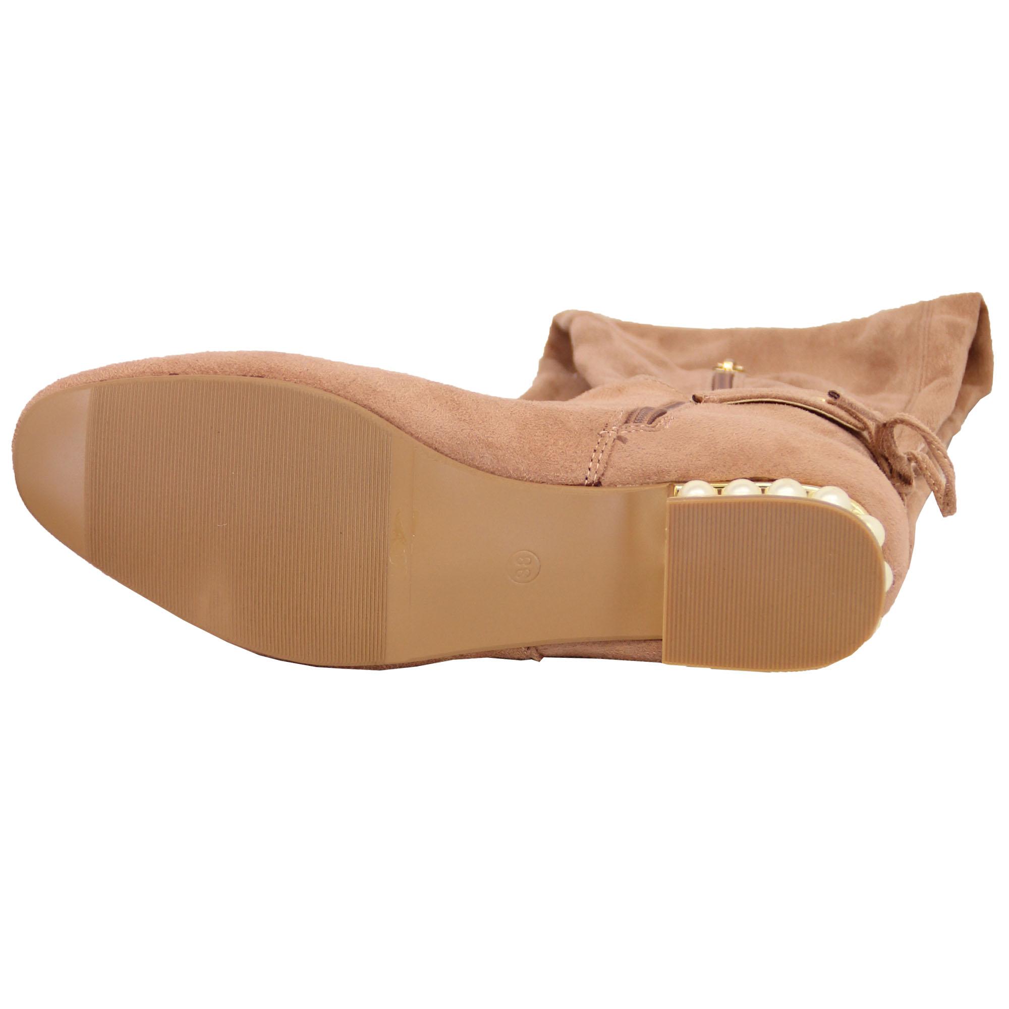 BOTAS-MUJER-Para-Dama-largas-Sobre-Rodilla-Zapatos-look-ante