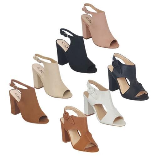 Ladies Peep Suede Look Mule Sandals Womens Block Heel Peep Ladies Toe Shoes Buckle Party d042ab
