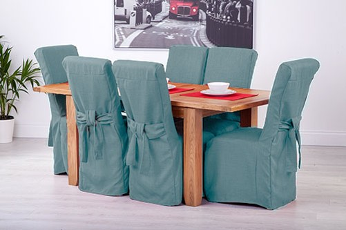 Fabric Dining Chairs Teal fabric slipcovers for scroll top high back leather oak dining