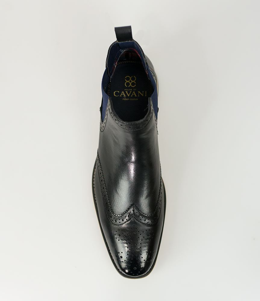 Cavani Mens Chelsea Boots Hound Leather Look Slip On Classic MOD ... 2ac075eabf1
