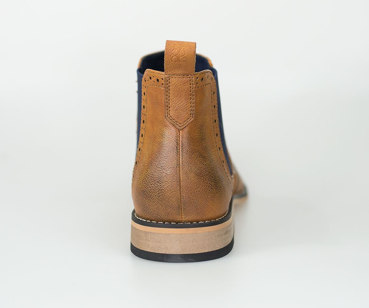 Cavani Mens Chelsea Boots Hound Leather Look Slip On Classic MOD Shoes